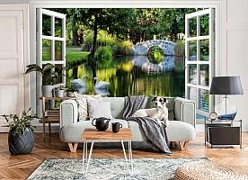 3D Фотообои  «Вид из окна на пруд с лебедями»  вид 6