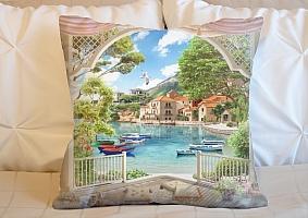 3D Подушка «Веранда с видом на лодки в заливе»