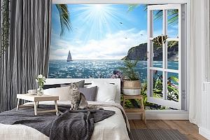 3D Фотообои  «Вид из окна на море»  вид 7