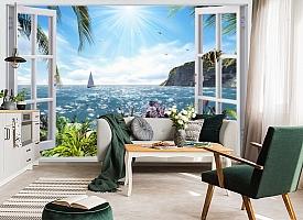 3D Фотообои  «Вид из окна на море»  вид 5