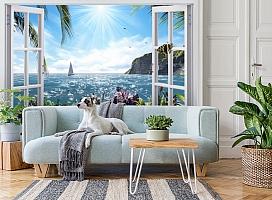 3D Фотообои  «Вид из окна на море»  вид 3