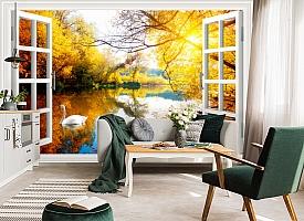 3D Фотообои  «Вид из окна на озеро с лебедями»  вид 5