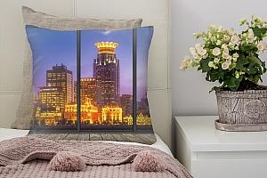 3D Подушка «Вид на ночной мегаполис»