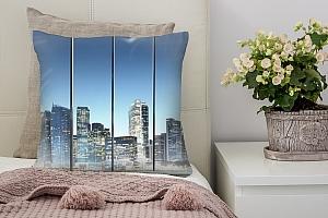 3D Подушка «Небоскребы на фоне синего неба»