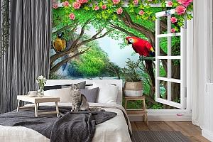 3D Фотообои  «С видом из окна на тропическую экзотику»  вид 7