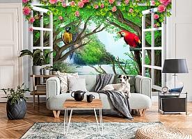 3D Фотообои  «С видом из окна на тропическую экзотику»  вид 6