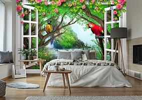 3D Фотообои  «С видом из окна на тропическую экзотику»  вид 2
