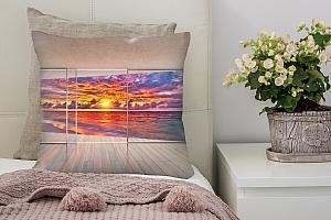 3D Подушка «Вид с террасы на закат»