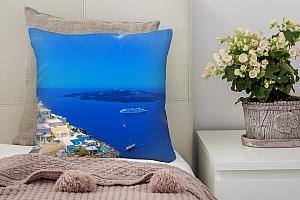 3D Подушка «Вид с балкона на Санторини»