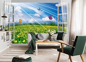 3D Фотообои  «С видом из окна на поле одуванчиков»
