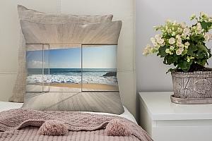 3D Подушка «Вид из окна на прибой»