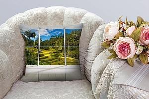 3D Подушка «Терраса с видом на тропический лес» вид 6
