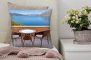 3D Подушка «Терраса с видом на горное озеро»