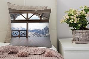 3D Подушка «Вид с террасы альпийского шале»