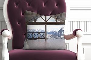 3D Подушка «Вид с террасы альпийского шале» вид 3