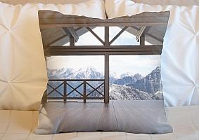 3D Подушка «Вид с террасы альпийского шале» вид 4