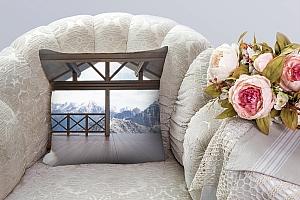 3D Подушка «Вид с террасы альпийского шале» вид 6