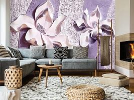 3D Фотообои «Фиолетовые магнолии на рельефном фоне» вид 7