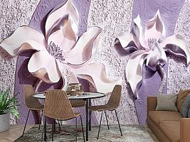 3D Фотообои «Фиолетовые магнолии на рельефном фоне» вид 3
