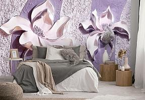 3D Фотообои «Фиолетовые магнолии на рельефном фоне»