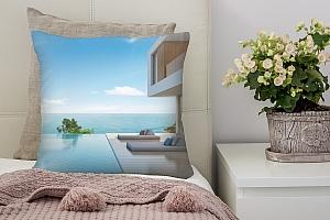 3D Подушка «Терраса с бассейном в современном доме»