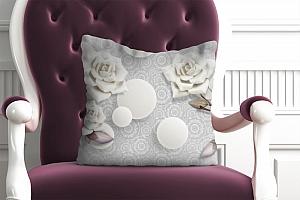 3D Подушка «Керамические розы с парящими сферами»