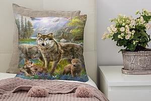 3D Подушка «Волки в весеннем лесу» вид 2