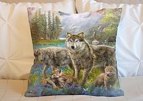 3D Подушка «Волки в весеннем лесу» вид 5