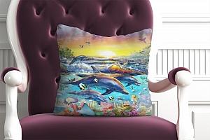 3D Подушка «Дельфины. Сказочный остров» вид 2