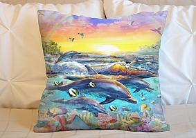 3D Подушка «Дельфины. Сказочный остров» вид 3