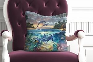 3D Подушка «Дельфины в голубой лагуне» вид 2