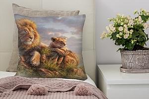 3D Подушка «Величественные львы» вид 2
