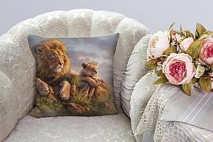3D Подушка «Величественные львы» вид 3