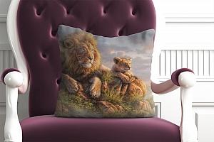 3D Подушка «Величественные львы» вид 4