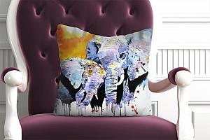 3D Подушка «Слоны. Акварель» вид 4