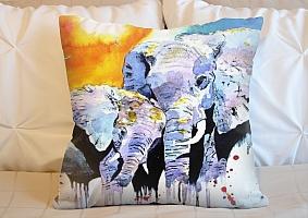 3D Подушка «Слоны. Акварель» вид 5