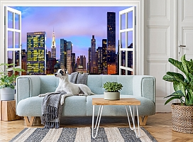 3D Фотообои  «Манхеттен вид из окна»  вид 3