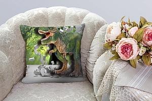 3D Подушка «Динозавр ломает преграды» вид 3