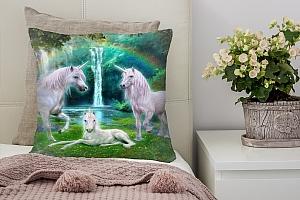 3D Подушка «Белые единороги» вид 2