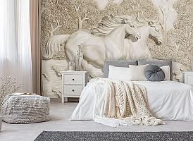 3D Фотообои  «Лошади на рельефном фоне»  вид 6