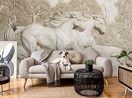 3D Фотообои  «Лошади на рельефном фоне»  вид 5