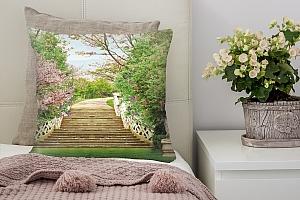 3D Подушка «Лестница в весеннем парке»