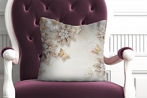 3D Подушка «Объемные цветы со стразами и бабочками» вид 2