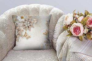 3D Подушка «Объемные цветы со стразами и бабочками» вид 5