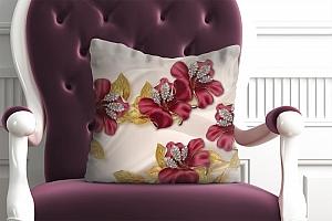 3D Подушка «Лилии с золотыми листьями»