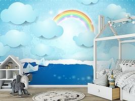 3D Фотообои «Радуга и бумажные кораблики на небе» вид 6