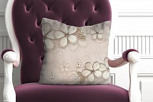 3D Подушка «Ювелирные цветы с сияющими камнями»
