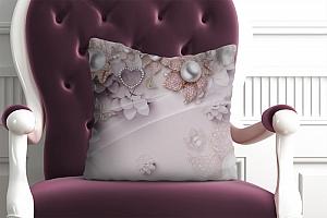3D Подушка «Драгоценные цветы с жемчугом»