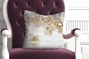 3D Подушка «Роскошные ювелирные цветы с лебедями»