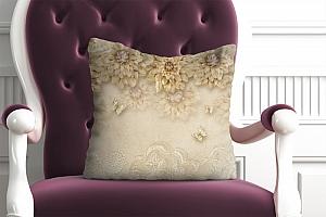 3D Подушка «Инсталляция с золотыми цветами»